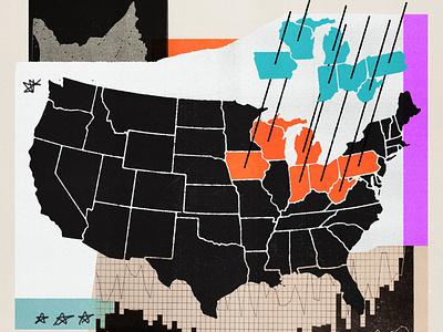 188 republicans democrats swing states presidential election election primaries politics rustbelt usa collage editorial illustration illustration