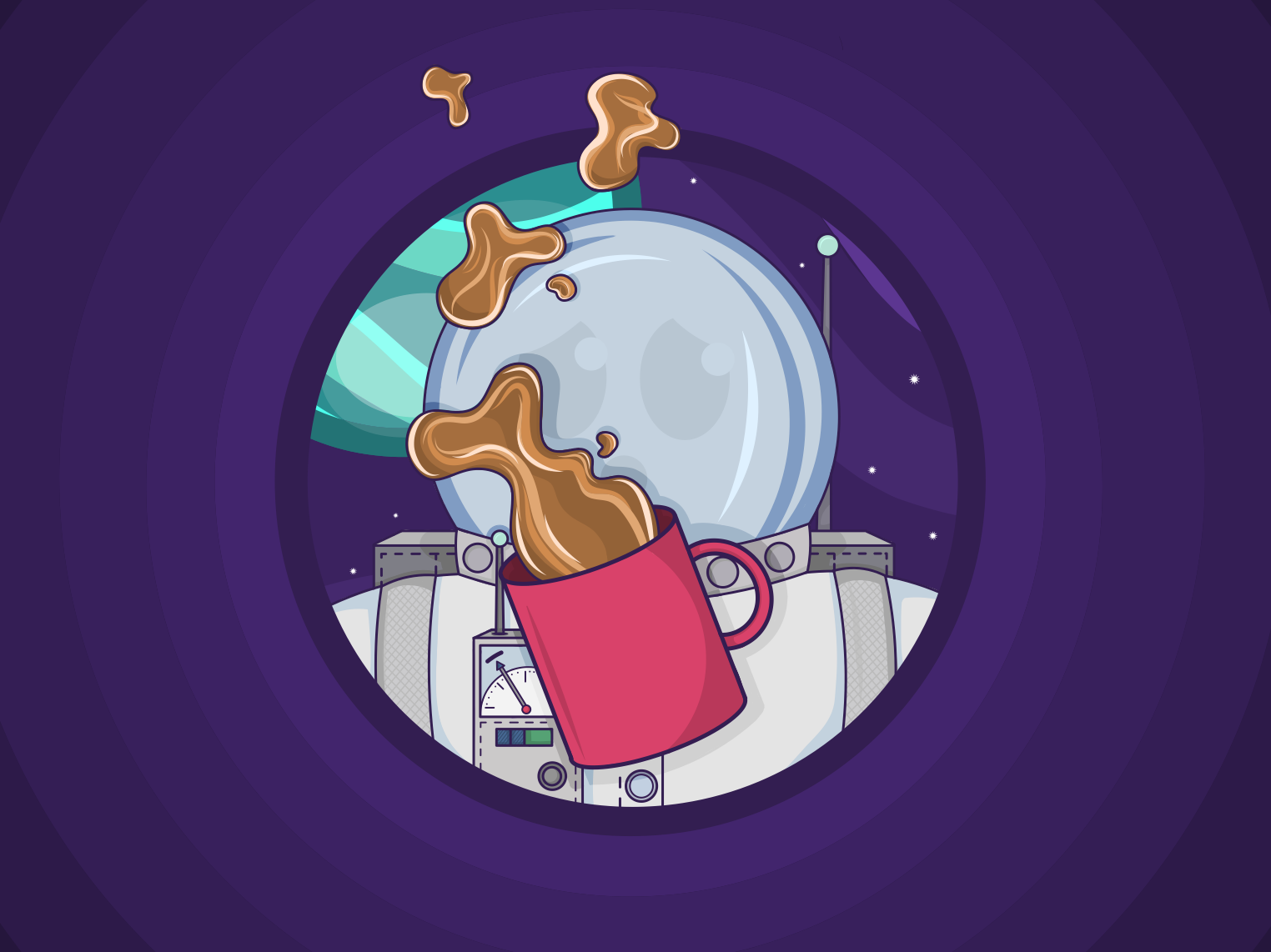 The Longest Commute - Spilt Coffee (2/3) astro galaxy procreate design vector space illustration icon commute character cartoon astronaut adobe sketch adobe draw adobe
