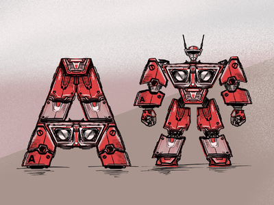 Typeformers A for 36 days of type 07 type art robots lettering typography graphic design procreate illustration alphabet letter a 36daysoftype07 36daysoftype