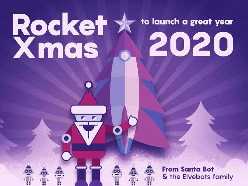 Rocket X-mas from Santa-Bot and the Elve-bots Family dribbbleweeklywarmup weekly warm-up holiday card new year graphic design design ilustration challenge christmas tree christmas card weeklywarmup weekly challenge