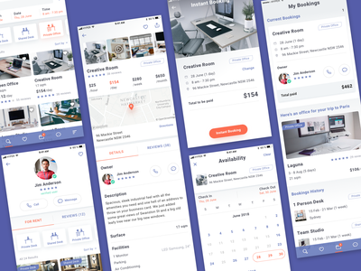 Rent Workspaces - UI (1/2) calendar view workdesk office workspaces detailsscreen profilescreen booking mobileapp workspace user interface userflow renter rent dashboard desk conference room business iphone ui user experience
