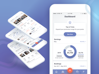 Rent Workspaces - UI (2/2) statistics homescreen details screen userflow business user interface prototype appdesign conference room office booking dashboard rent deskapp workspaces user experience ui ux iphone mobile
