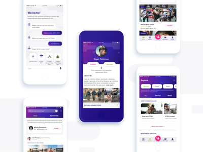 Soldiers Connect - UI (1/2) connectionapp ptsd ui ux soldiers connect vetapp mobile app soldiers app explorepage feed profile screen chatbot user experience