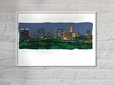 Downtown Fort Worth mockup vector cityscape texas fort worth design illustration adobe illustrator