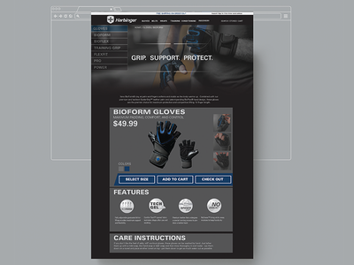 Harbinger Fitness Store Page comp ui ux ecommerce