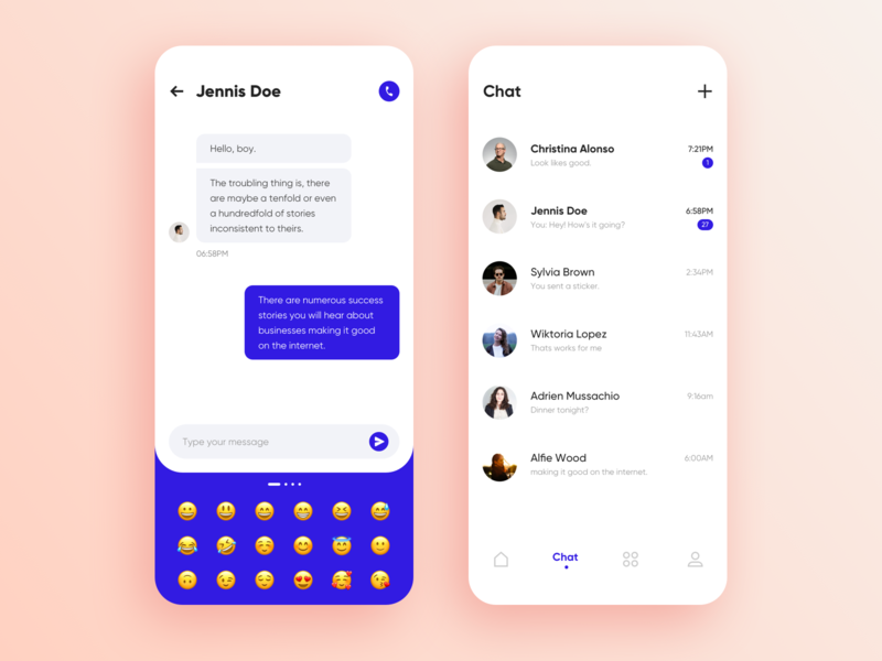 Social app UI chat mobile sketch list write blue white clean card chat message emoji applicaiton app typography graphics interface ux ui design