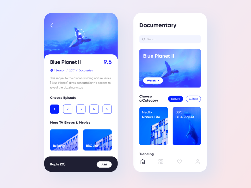 Documentary Play UI video play documentary movie typography white blue sketch mobile application app clean card homepage graphics interface ux ui design