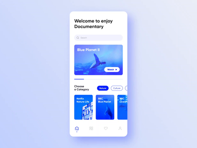 Documentary play pages animation animation design ui ux interface graphics homepage card clean app application mobile sketch blue white typography movie documentary play video