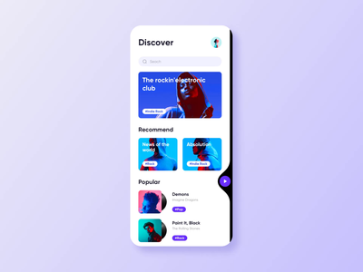 Music App UI Pages mv music video play typography white blue sketch mobile application app clean card homepage graphics interface ux ui design animation