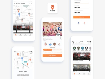 Fitness App fitness onboarding screens landing screen trainer health gym app icon mapview signup screen login screen ios app design