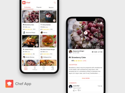 Chef App mobile ui food cook challenges home screen food app cards portfolio product page tabbar comments iphonex
