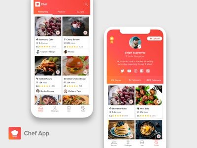 Chef App (Gradient Version) about me dashboad user profile chef cook badge uploud followers social buttons cards design home screen profile profile screen cards food app