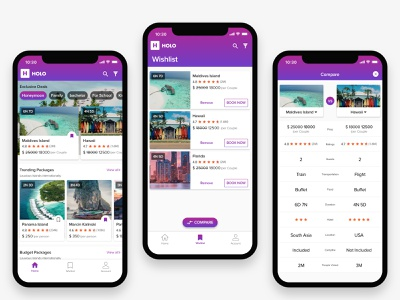 Travel Booking App travel branding logo colors mobile ui iphone 10 bookmark tabs honeymoon compare screen compare products compare hotels cards holo comparision vacation planning hotel booking travel package travel agency travel app