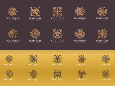 Set of luxury boutique logo collection luxury label retro hotel ornament vintage decorative boutique crest emblem logo monogram