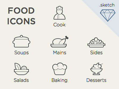 Food Icons For Sketch.App dessert soups download sketch freebie free food icon salads sketch app thin line