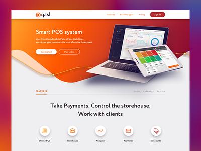 Qasl. Landing Page tablet laptop features orange pos graph pricing plans testimonials payments landing web