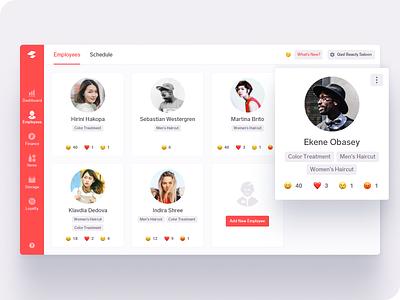 Employees page tags users emoji card stuff ux ui web employee