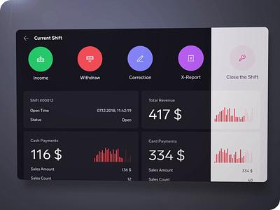 Shift Dashboard - Dark Mode theme black dark light white tablet chart analytics animation dashboard pos android app ux ui