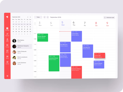Appointments Calendar employees staff service app week after effects calendar schedule appointment dashboard animation web ux ui