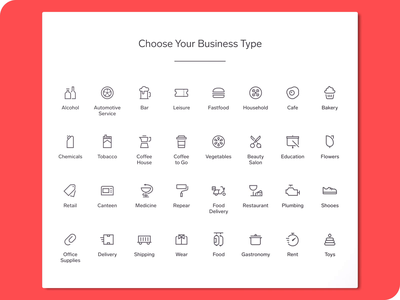 Business Types Icons icon set types cafe business icons animation app web