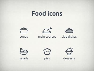Foodicons food icon eat soup salad pies dessert thin line