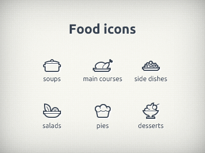 Foodicons food icon eat soup salad pies dessert thin line