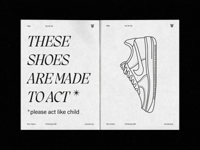 xmas gift card that we designed for shoe reseller Run Colors® brutalism minimal typography branding idea concept xmas sneakers design print design