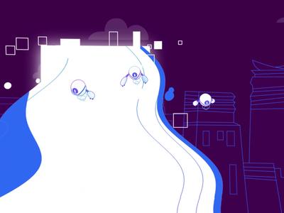 Korporatio office town city rocket robots crypto cryptocurrency bitcoin blockchain video branding vector texture explainer cartoon character animation 2d illustration art
