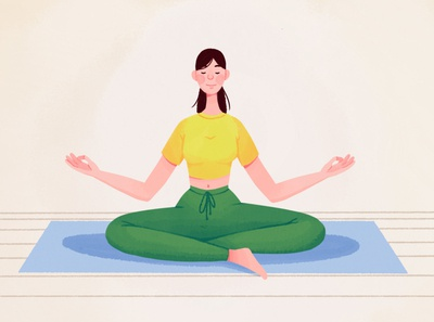 Stay home artwork characterdesign characters covid19 workout health character branding yoga pose girl home yoga 2d illustration art