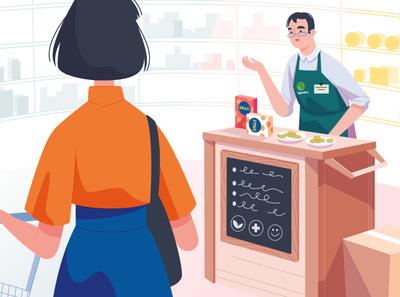 Shop assistant brand identity explainervideo food illustration snacks shopping vector illustration supermarket food vector explainer cartoon character 2d illustration art