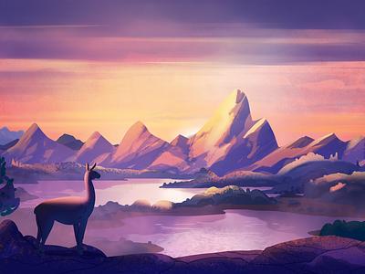 Lama pallete flat design patagonia sunset river mountains nature cartoon animal lama 2d illustration art