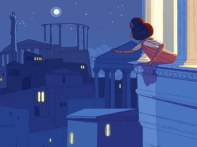 Aeneid character texture art 2d flat girl queen town illustration design illustration 2d character
