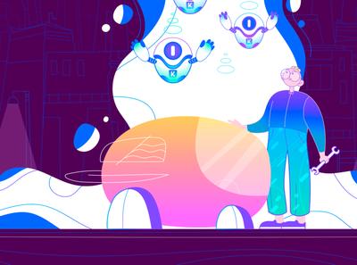 Korporatio vector cel animation 2d art digitalart motion art illustration spaceship bitcoin blockchain robots branding drawing designer art