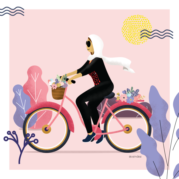 A sunny day bicycle bike ride plants logo illustration pink app web animation design branding vector ux ui gif flow hair women woman character