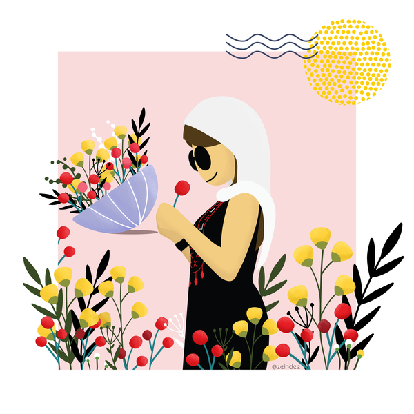 Stop and smell the roses love birds valentine woman sun flowers illustration sunglasses picking flowers character desing palestine self love