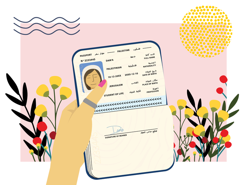 Passport identity travel fly sun flowers character portfolio bio page passport