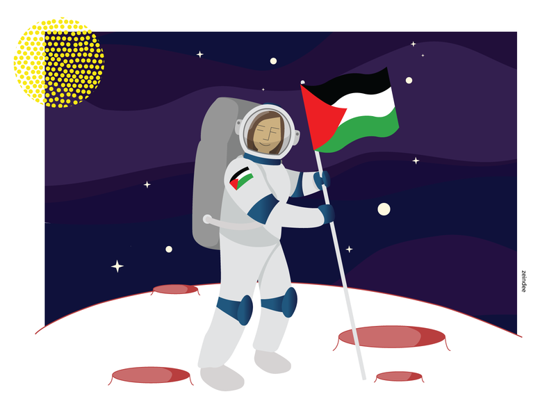 On the Moon love pink illustration hair moonshine strong women woman character landing flag astronaut palestine moon