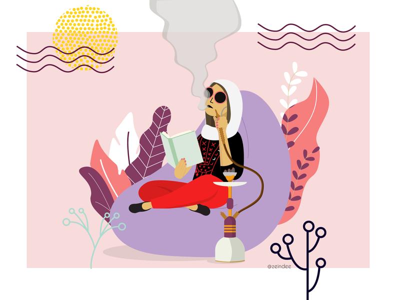 Shisha time relax chill smoking bean bag reading women woman muslim palestine argeleh hookah shisha