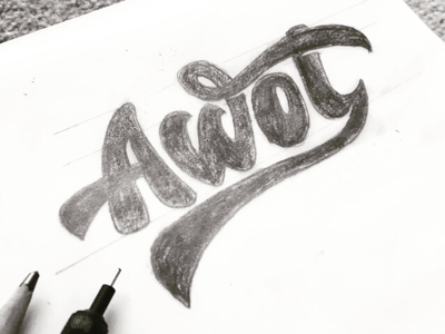AWOL Snowsports Logo typography calligraphy outdoors snowsports hand lettering lettering type logotype wordmark logo