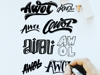 AWOL Logo Sketches mountains snowboarding black and white typography type calligraphy lettering hand lettering t-shirt apparel sketch logo