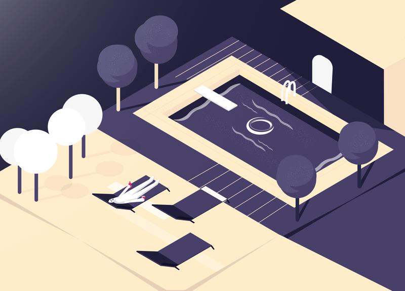Night Relax illustraor colors graphic isometric night design illustration