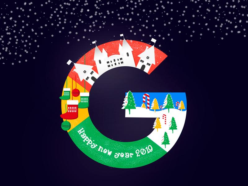 Happy new year Google winter new year 2019 happy new year christmas google design graphic illustration