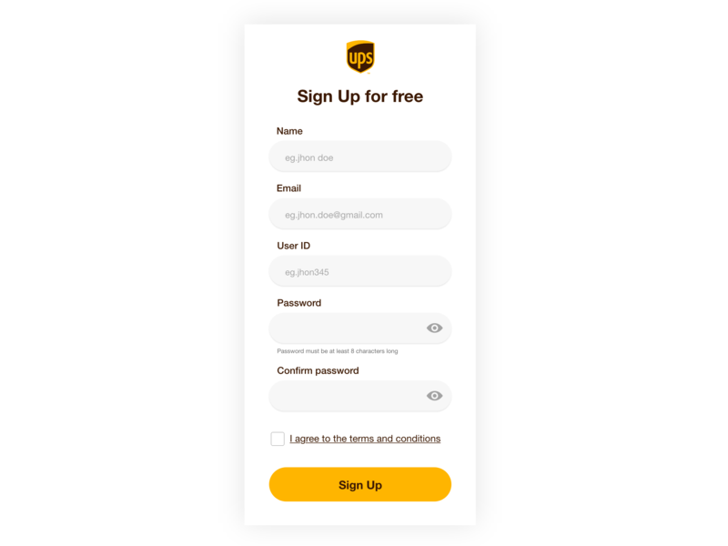 UPS Sign Up form for mobile app madewithxd adobe xd challenge user interface minimal ui  ux user ux ui design ups