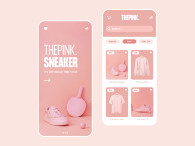 ThePink. uidesign ecommerce layout application uiux ui shoes sneaker pink app appdesign minimal