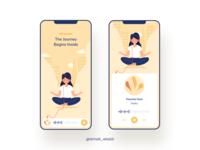 YoGGA musicapp headphone uiux design illustration illustrator girl quantum music calm yoga ui