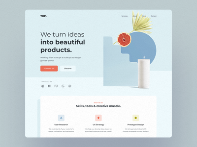 TOP. soft mobile ux ui landing page startup website web design
