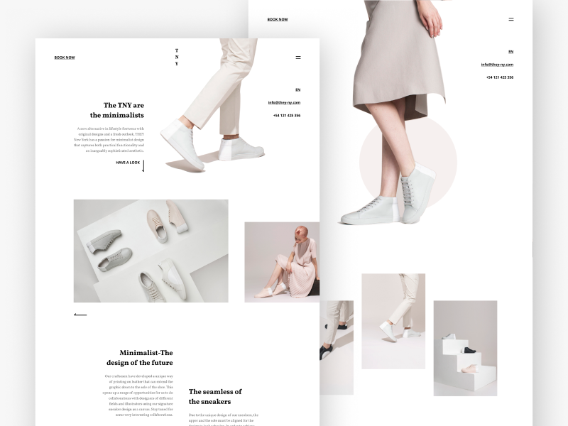 THEY NY© clean simple footwear ui mondrianizm minimal layout landing design