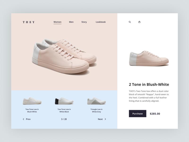 THEY© webdesign ux ui minimal flat simple footwear desktop clean