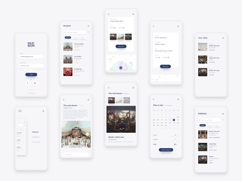 Museum App calendar ui signup search museum menu login exhibution event app minimal simple