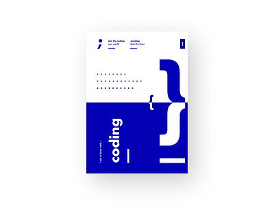 Code 2 coding poster art typography minimal ui clean
